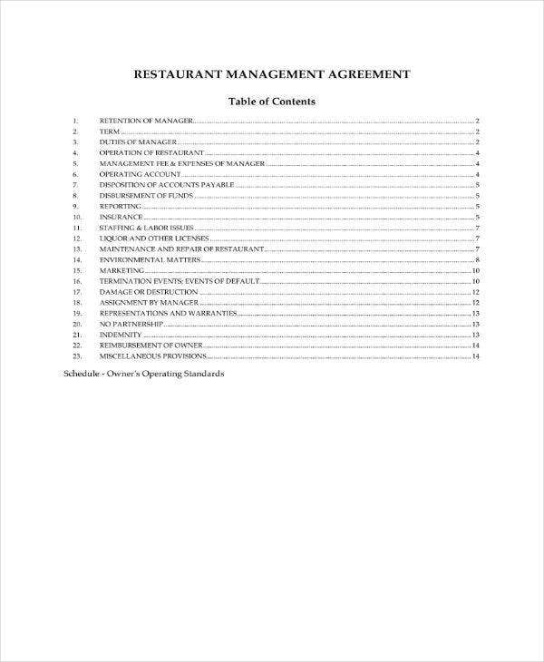 restaurant management contract agremeent