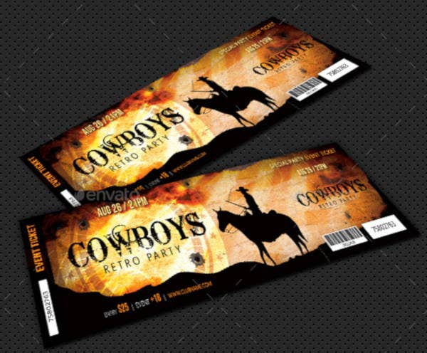 retro cowboy theme ticket