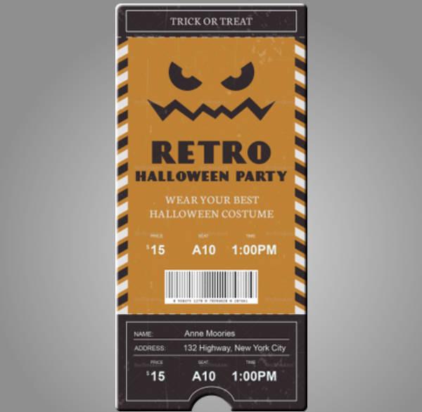 retro halloween event ticket template