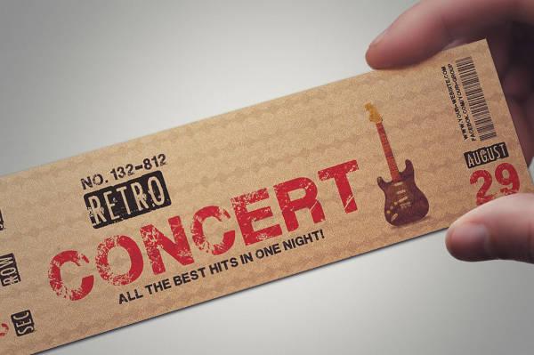 retro music night ticket template