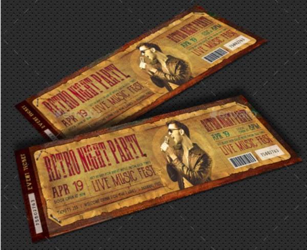 retro party event ticket