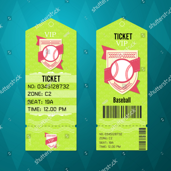 Retro Style Baseball Ticket Template