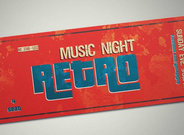 Retro VIP Event Ticket Template
