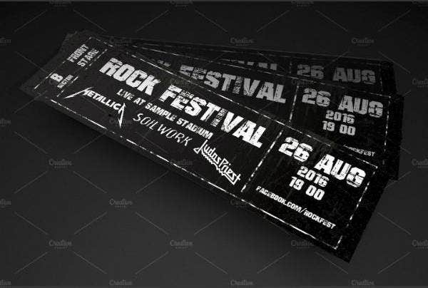 rock festival concert ticket sample