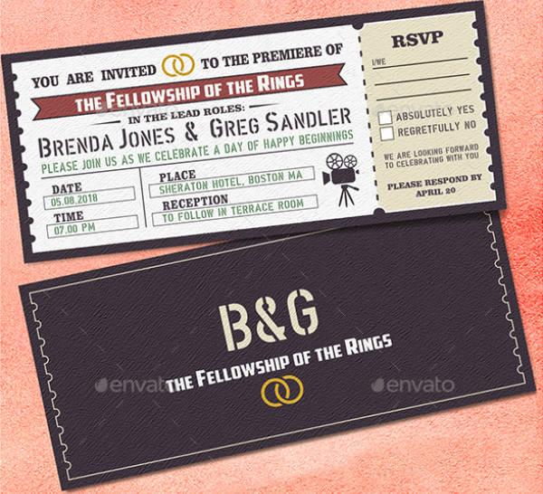 rustic wedding ticket invitation template