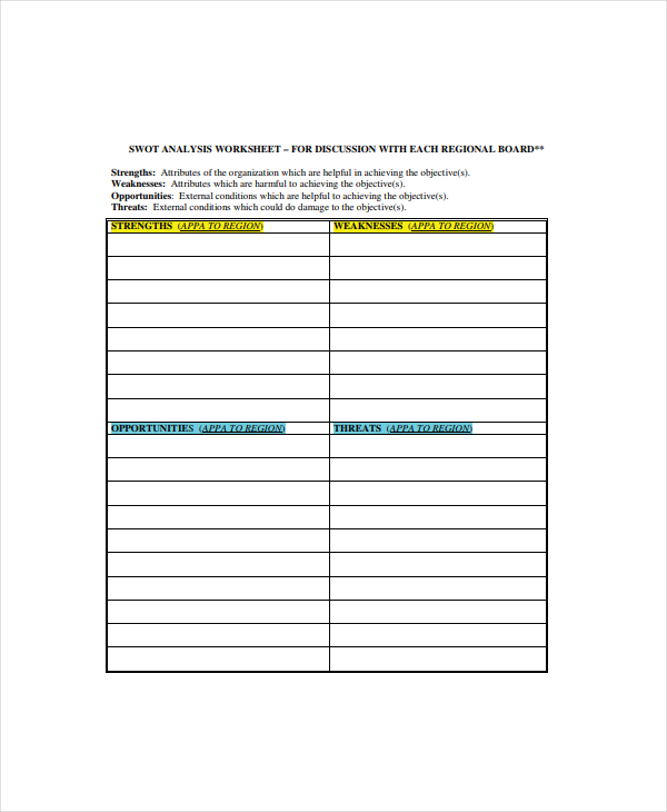 SWOT Analysis Worksheet Example