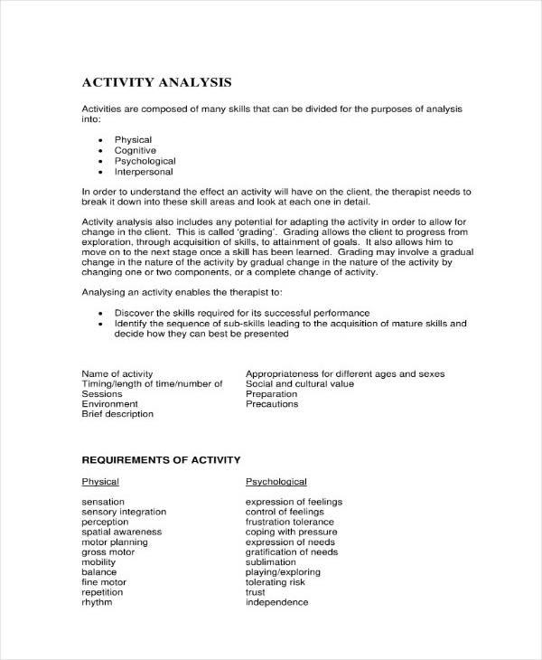 sample activity analysis