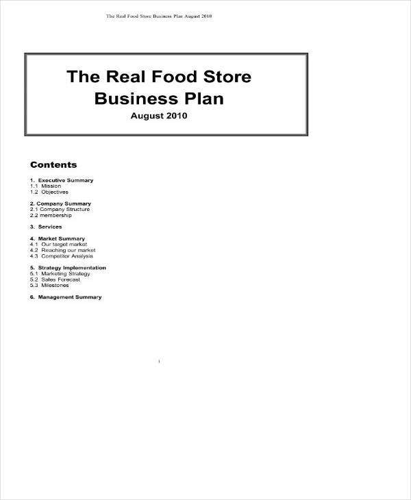 Sample Convenience Store Business Plan