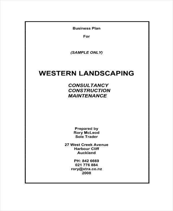 sample landscaping business plan