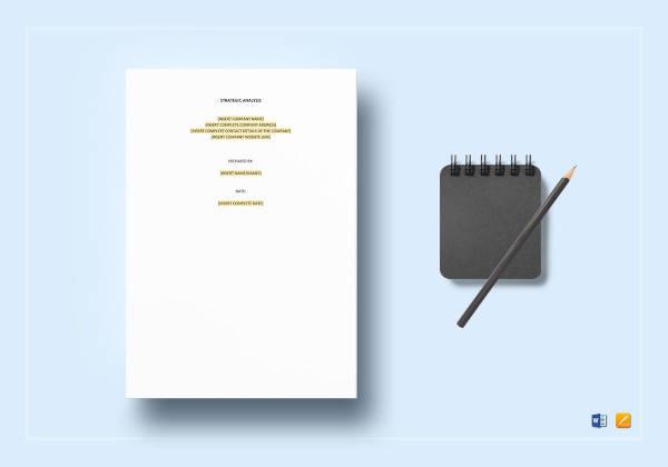 Sample Strategic Analysis Report Template