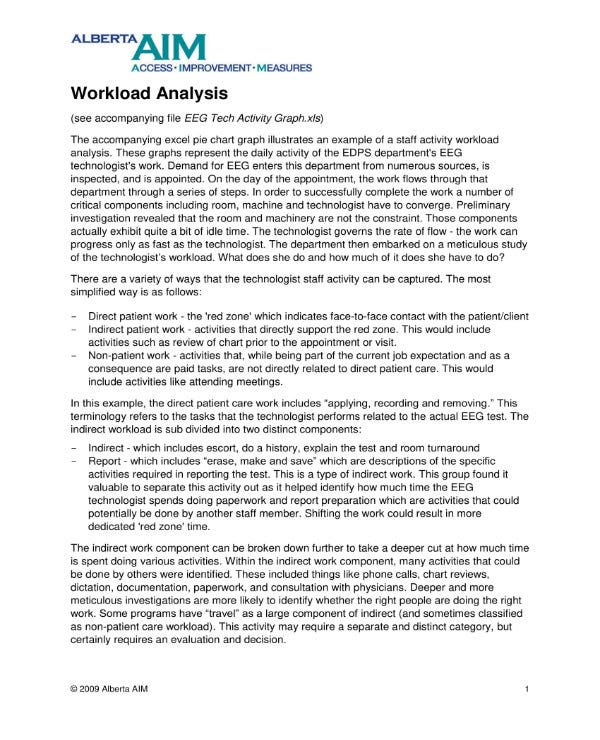 sample workload analysis 1