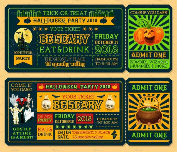 Scary Halloween Party Ticket Template