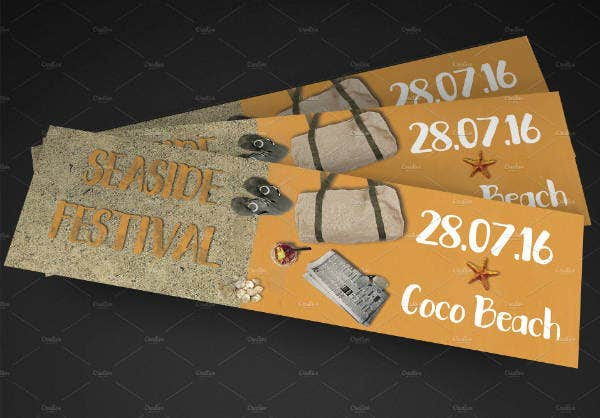 seaside festival ticket template