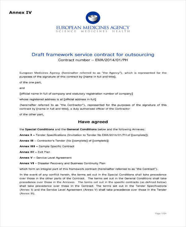 Service Contract Agreement for Outsourcing