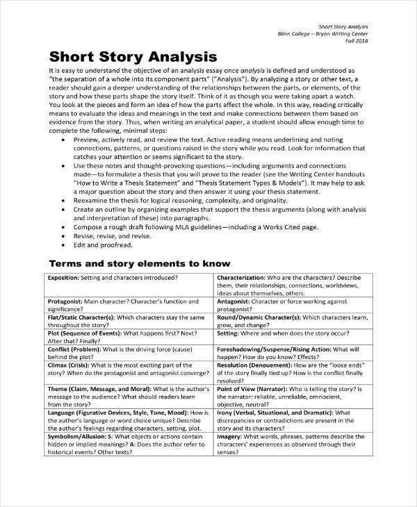 Short Story Analysis Sample