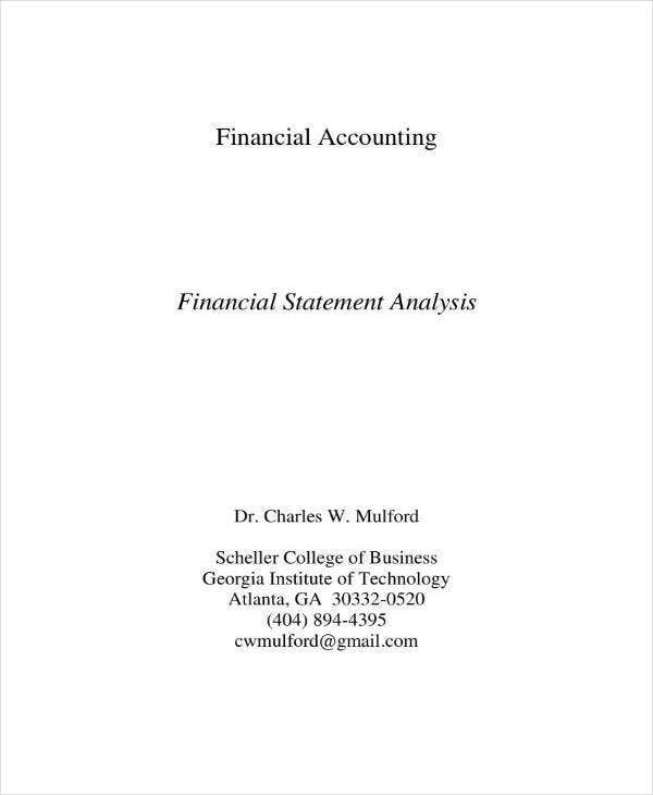 simple business financial analysis