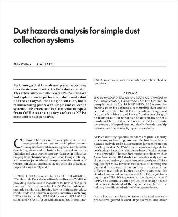 Simple Dust Hazard Analysis