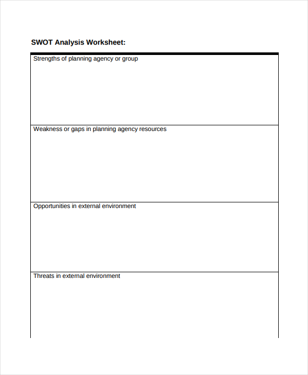 Simple SWOT Analysis Worksheet
