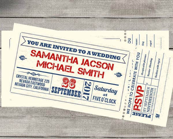simple wedding invitation ticket template