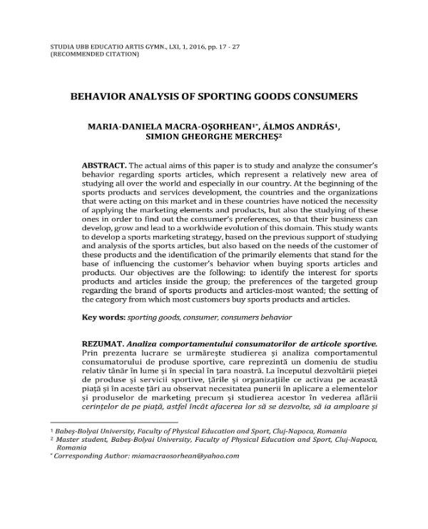 sporting goods consumer behavior analysis 01