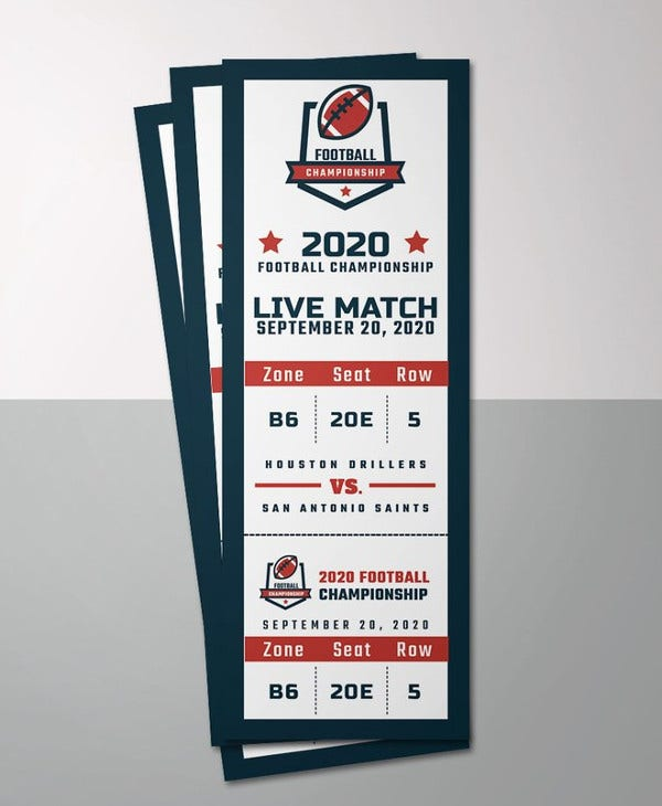 sports event ticket template
