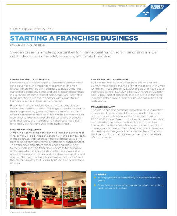 Start-Up Franchise Business Plan