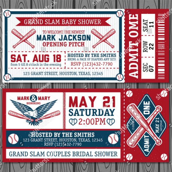 Stock Vintage Baseball Ticket Template