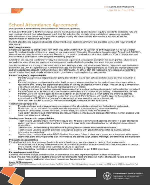 student attendance agreement contract 1
