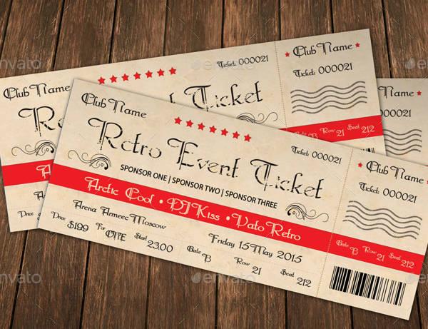 stunning retro event ticket template