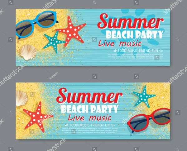summer beach party ticket template