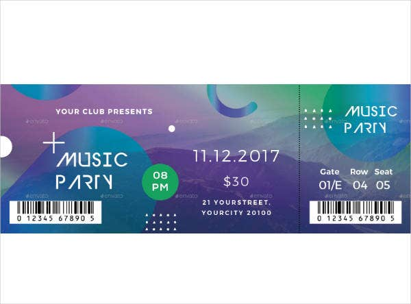 Summer Music Party Ticket Design