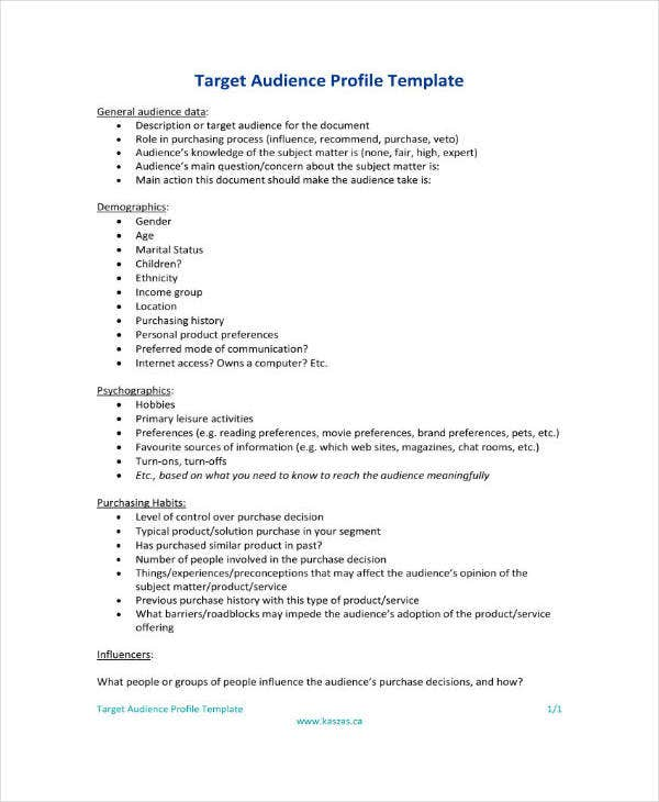 target audience profile template
