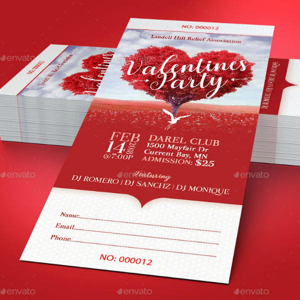 valentines day club event ticket