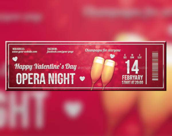 valentines night event ticket example