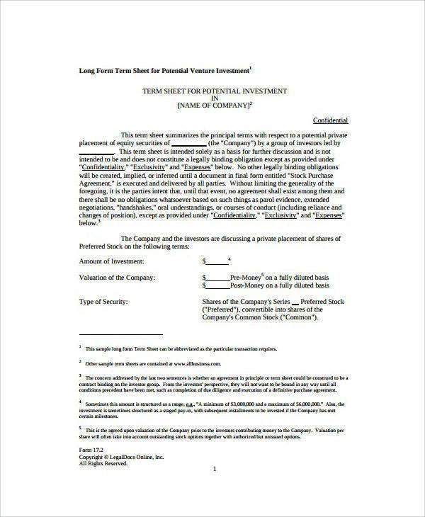 9 Venture Capital Agreement Templates Word Pdf Google