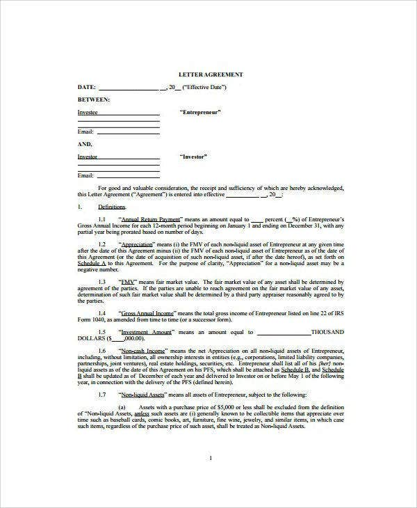 venture capital letter investment agreement