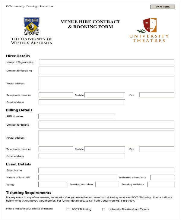 venue contract and booking form