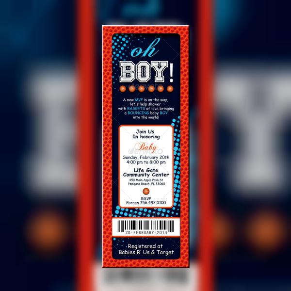Vertical Basketball Ticket Invitation Template