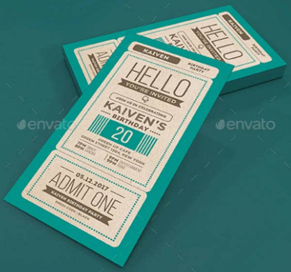 Vertical Carnival Birthday Ticket Invitation