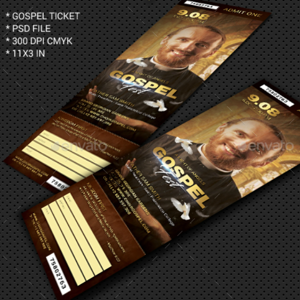 Vertical Gospel Concert Ticket Template