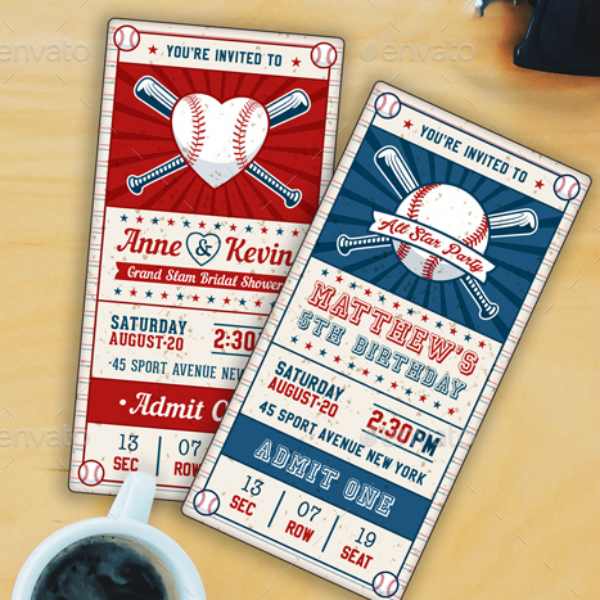 Vertical Vintage Babseball Ticket Template