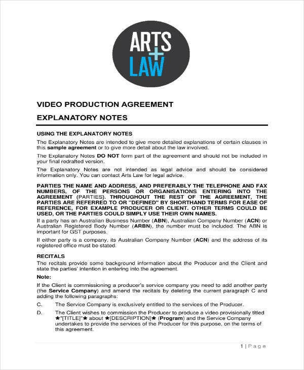 Video Production Agreement Sample