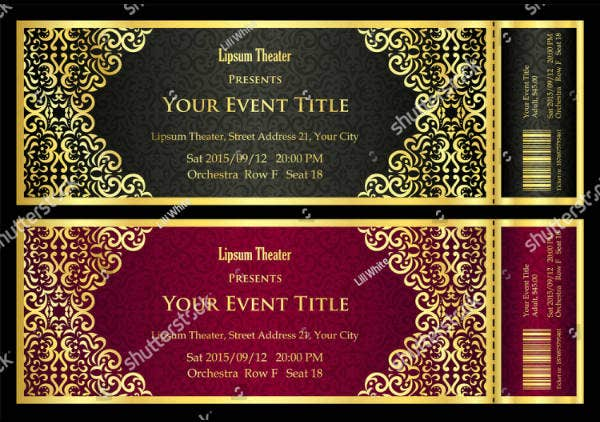 vintage golden ornament ticket template