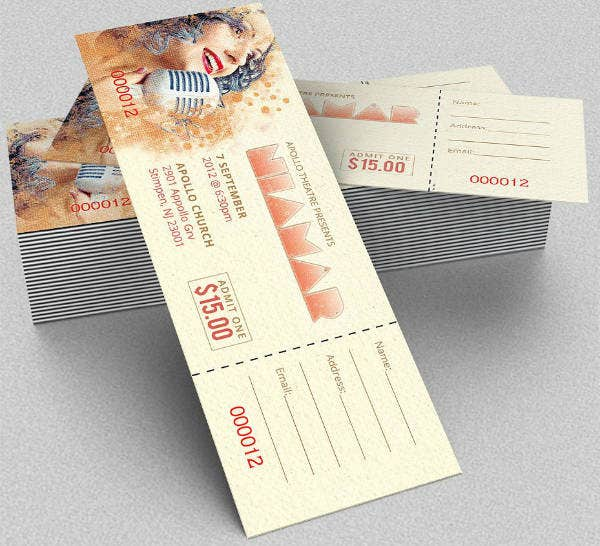 vintage musical concert ticket template