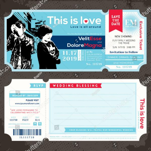 vintage wedding ticket invitation template
