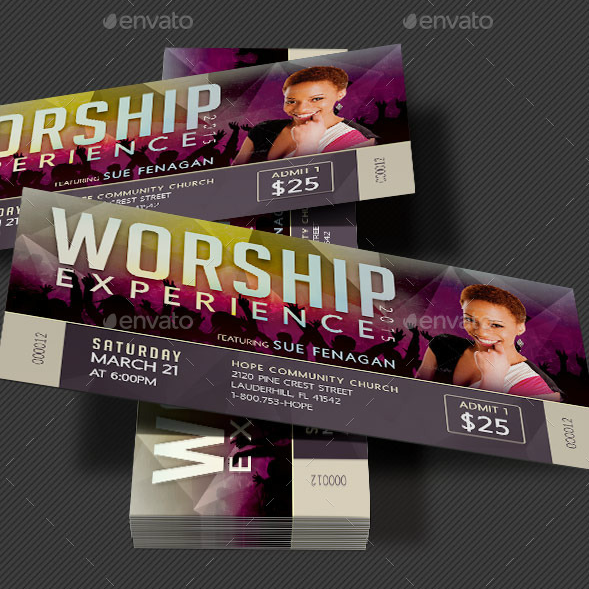 Worship Experience Concert Ticket Template