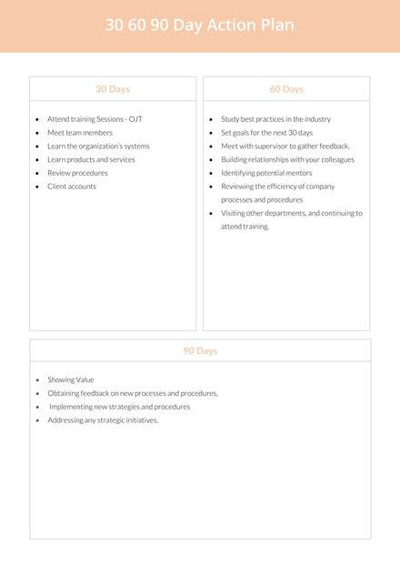 30 60 90 Day Action Plan Sample
