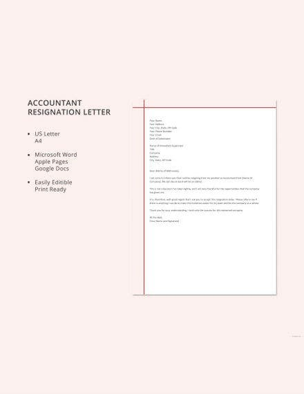 accountant resignation letter template