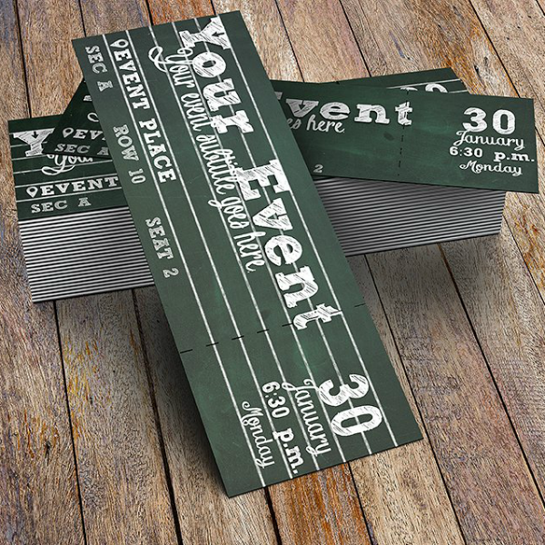 achromatic chalkboard event ticket template