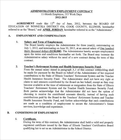 administrators worker contract